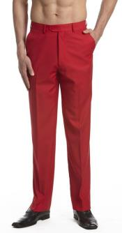 Mens Dress Pants Trousers Flat Front Slacks Red