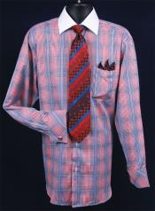 Mens French Cuff Dress Shirt Set White Collar Two Toned Contrast - Checker Pattern - Red