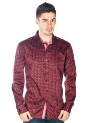 Barabas Red Mens Long Sleeve Cross Over Pattern Button Down Shirts Camisas