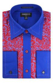 Design French Cuff Paisley Regular Fit Red/Royal Blue Blends Mens Dress