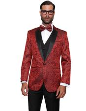 Red One Button Wool Double Vent Modern Fit Suit