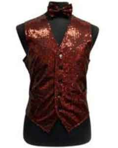 Shiny Sequin Dress Tuxedo Wedding Vest/bow tie set Red