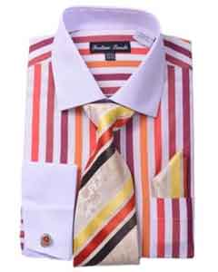 Mens White Collar Two Toned Contrast Unique Stripe Fashion Shirt Tie
