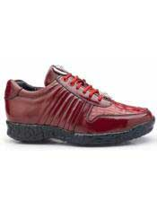 Skin Crocodile and Soft Calf Leather lining Red Shoe