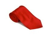 Silk Solid Red Necktie With Handkerchief