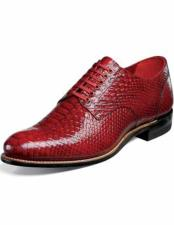 Stacy Adams Mens Snakeskin Print Red Classic Laceup Style Leather Sole Shoes 10 days delivery