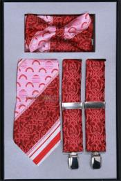 Mens Suspender Tie Bow Tie ~ Bowtie and Hanky Set Red