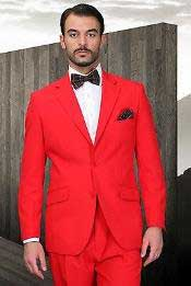Mens Red Poly~Rayon Fabric Modern Cut 2 Button Cheap Business Suits Clearance