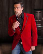 Red Velvet Velour Sport Coat Cheap Blazer Jacket For Men ~ Two Tone Trimming Tuxedo Jacket
