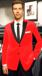 Velvet Velour Blazer Formal Tuxedo Jacket Sport Coat Two Tone Trimming Notch Collar Hot Red
