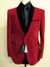 Red Velvet ~ Velour Fabric Dinner Jacket Tuxedo Black Lapeled