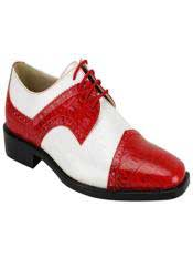 Fashion Two Toned Mens Red And White Dress Shoes