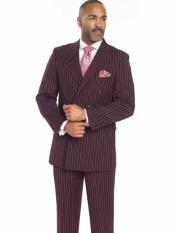 Mens Black/Red Bold Chalk Stripe ~ Pinstripe White Pinstripe Pleated Pants Gangster Suit