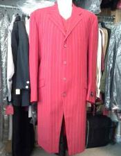 Mens Red And White Pinstripe ~ Stripe Fashion Long Maxi Zoot Suit