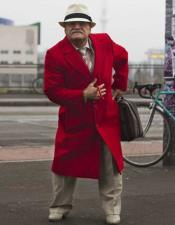 Mens Wool Red Overcoat