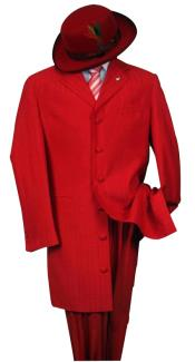 Metalic Hot Red Fashion Dress Zoot Suit 38 Inch Long