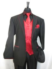 SKU#RA41 Mens Trimmed Jacket With Matching Satin Vest and Hankie Two Toned Tuxedo RedBlack