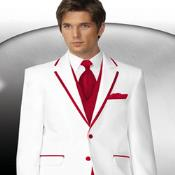 2 Button Style White Tuxedo With Red Trim Collar + Matching