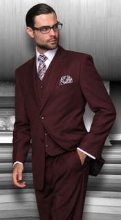 Button Vested 3 Piece Suits Mens 3 Piece Regular Fit Burgundy