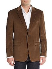 Mens Regular Fit Corduroy Blazer Dark Khaki ~ Tan ~ Beige