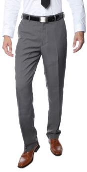 Mens Premium Three Buttons Regular Fit Flat Front Dress Pants Grey