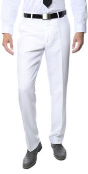 Mens White Formal & Business Flat Front Dress Pants