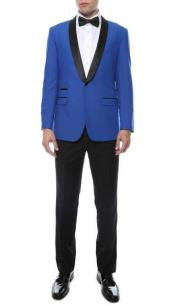 Mens Slim Royal Blue Shawl Lapel Tuxedo Jacket / Blazer Mens /