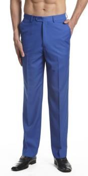 Mens Dress Pants Trousers Flat Front Slacks Royal Blue