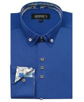 Royal Blue 60% Cotton 40% POLY Shirt Double Collar Design Sleeves