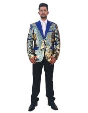 Mens Gold 2 Button Single Breasted Royal Blue Peak Lapel Shiny Blazer ~ Sport Coat