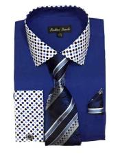 Solid/Polka Dot Pattern Cotten Blend Royal Blue Dress Shirt With Tie