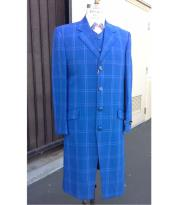 Royal Blue Plaid ~ Window Pane Zoot Fashion Vested 3 Piece Dress Suits for Men