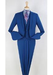 Royal Blue  3 Piece 100% Wool Executive Dress Suits for Men Narrow Leg Pants