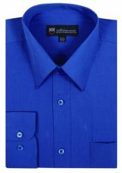 Plain Solid Color Traditional Dress Shirt Royal Blue