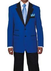 Light ~ Royal blue Tuxedo with Black Lapeled Dinner Jacket Dress Suits for Men Blazer Sport coat