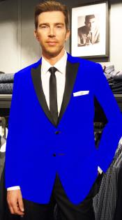 Velour Formal Sport Coat Two Tone Trimming Notch Collar Royal Blue
