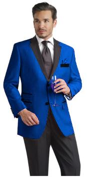 Two Toned Royal Light Blue Two Button Velvet or Dress Suits for
