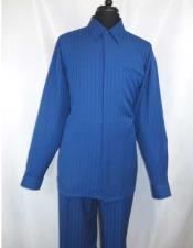 Long Sleeve Hidden Buttons Collared Royal Blue Casual Two Piece Walking
