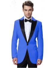 Mens Royal Blue Jacket Black Lapel Tuxedos with Black Pant One Button Elegant Slim Fit Wedding Suit