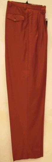 rise big leg slacks  Rust Wide Leg Dress Pants Pleated