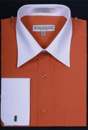 Daniel Ellissa Bright Two Tone Solid French Cuff Rust Dress Shirt Big and Tall Sizes White Collar