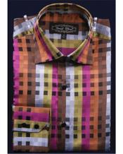 High Collar Club Rust Fancy Square Pattern Shirt Night Club Outfit
