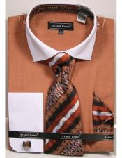 Textured Pattern French Cuff 100% Cotton Fashion Rust Shirt with Tie