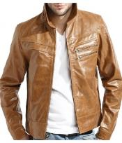 Leather Zip Front Jacket
