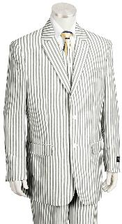 Mens Fashion 3 Piece Seersucker Sear sucker suit in Soft Poly Rayon