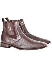 Brown Vestigium Genuine Sharkskin Chelsea Boots