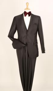 2 Piece Executive Suit -Pocket/Collar Shiny Flashy Satin Silky Metallic- Black