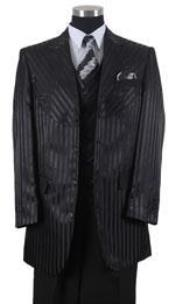 Black Pinstripe Vested 3 Piece Mens Dress Suits for Men