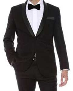 Black Shiny 2 Buttons Slim Fit Dinner Jacket Fashion Tuxedo For