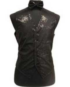 Shiny Sequin Dress Tuxedo Wedding Vest/bow tie set Black